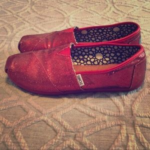 TOMS red sparkle shoes!